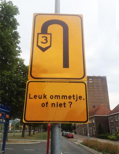 Leuk ommetje, of niet - Verkeersborden Strijp-S Eindhoven